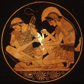 Achilles tending to the wounded Patroclus