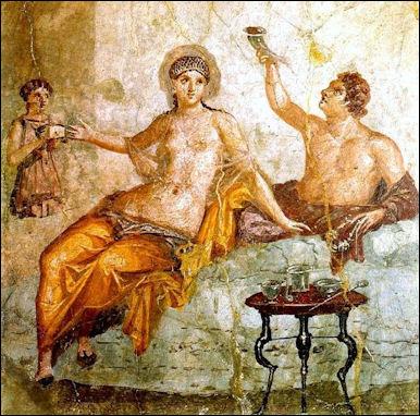 Herculaneum fresco of a Roman banquet