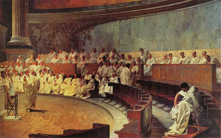 Cicero denounces Catiline, painted by Cesare Maccari