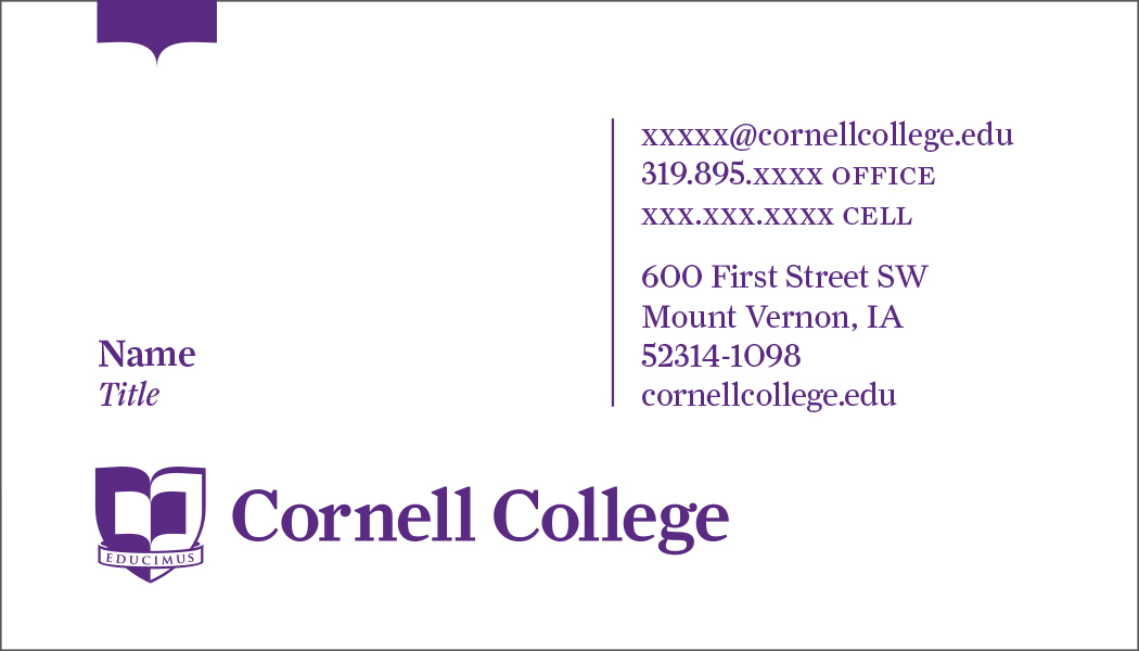 Business Card Orders (faculty and staff) - Cornell College